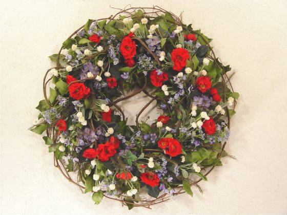 red white and blue floral wreaths | ... large memorial wreath in patriotic colors of red white and blue aside