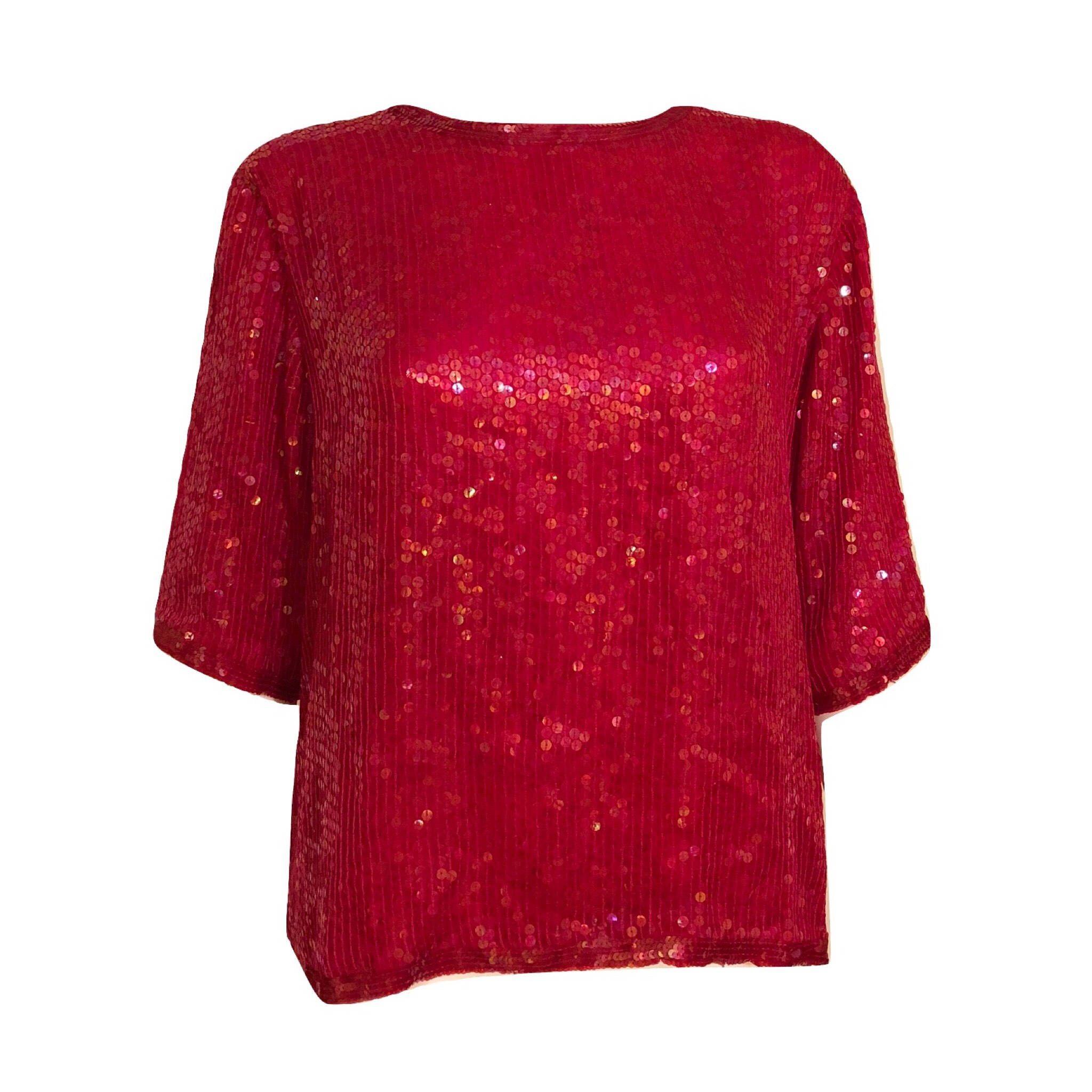 80s Pink Sequin Top