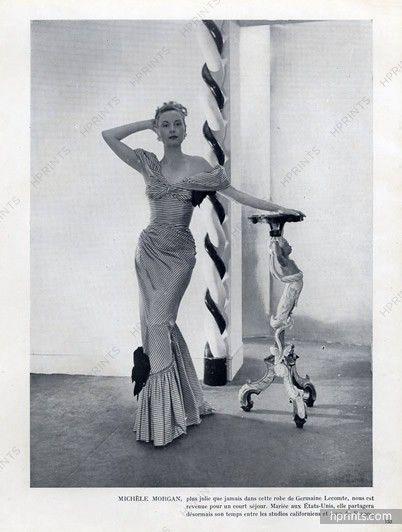 Germaine Lecomte 1946 Michèle Morgan, Evening Gown | 1946 Fashion + ...