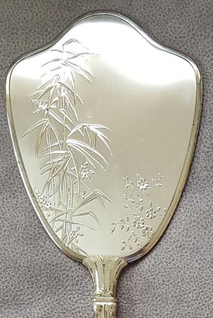1960s Hand Mirror Brush Comb Silver Plated Vanity Set Mid Century Motif Bamboo & 1960s Hand Mirror Brush Comb Silver Plated Vanity Set Mid Century ...