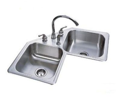 Kitchen Sink At Lowes Modern Faucets 麗室衛浴 加拿大 Kindred 廚房進口不銹鋼水槽 轉角型雙槽 Qcr 8 In