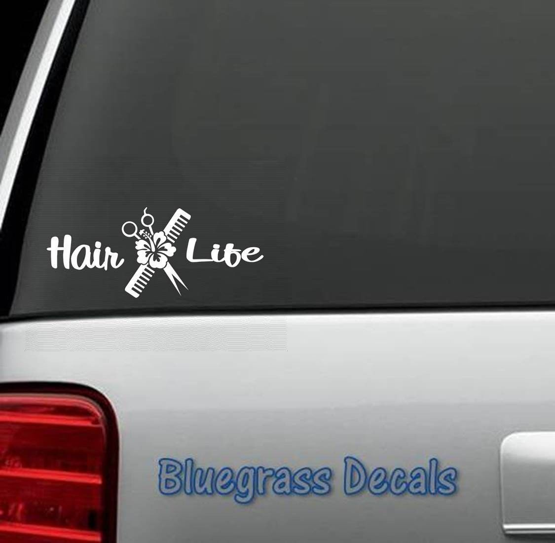 Hair Life Decal Sticker Stylist Salon Scissors Hibiscus For Car Window A1068 Hair Life Life Decals [ 1101 x 1125 Pixel ]