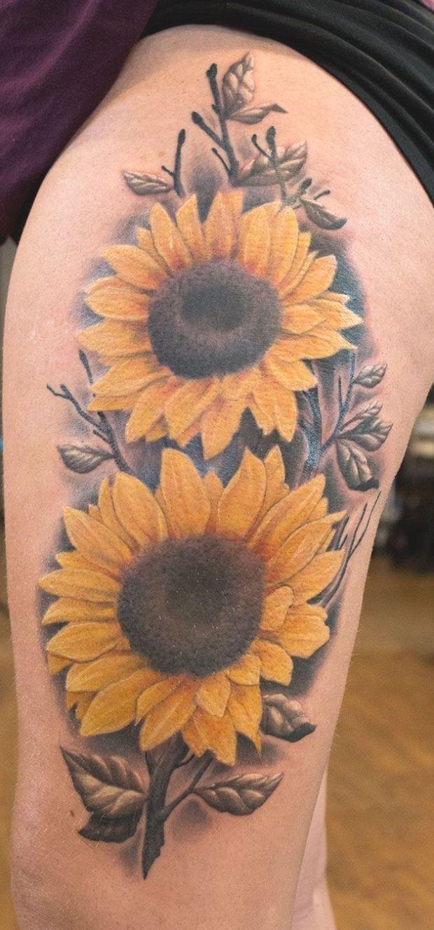 Photo of #sunflowertattoo #flowertattoo… #Sunflower #thigh #tattoo  Sunflower thigh tat…