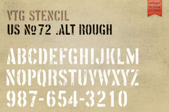 Vtg Stencil US No. 72 - Alt Rough by astype on Creative Market