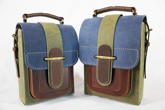Colorful Leather Messenger Bag Handmade Leather by InBagWeTrust