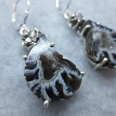 """Campo del Cielo Meteorite and Agate Druzy 1-3/4"""" Leverback Earrings - Sterling Silver"""