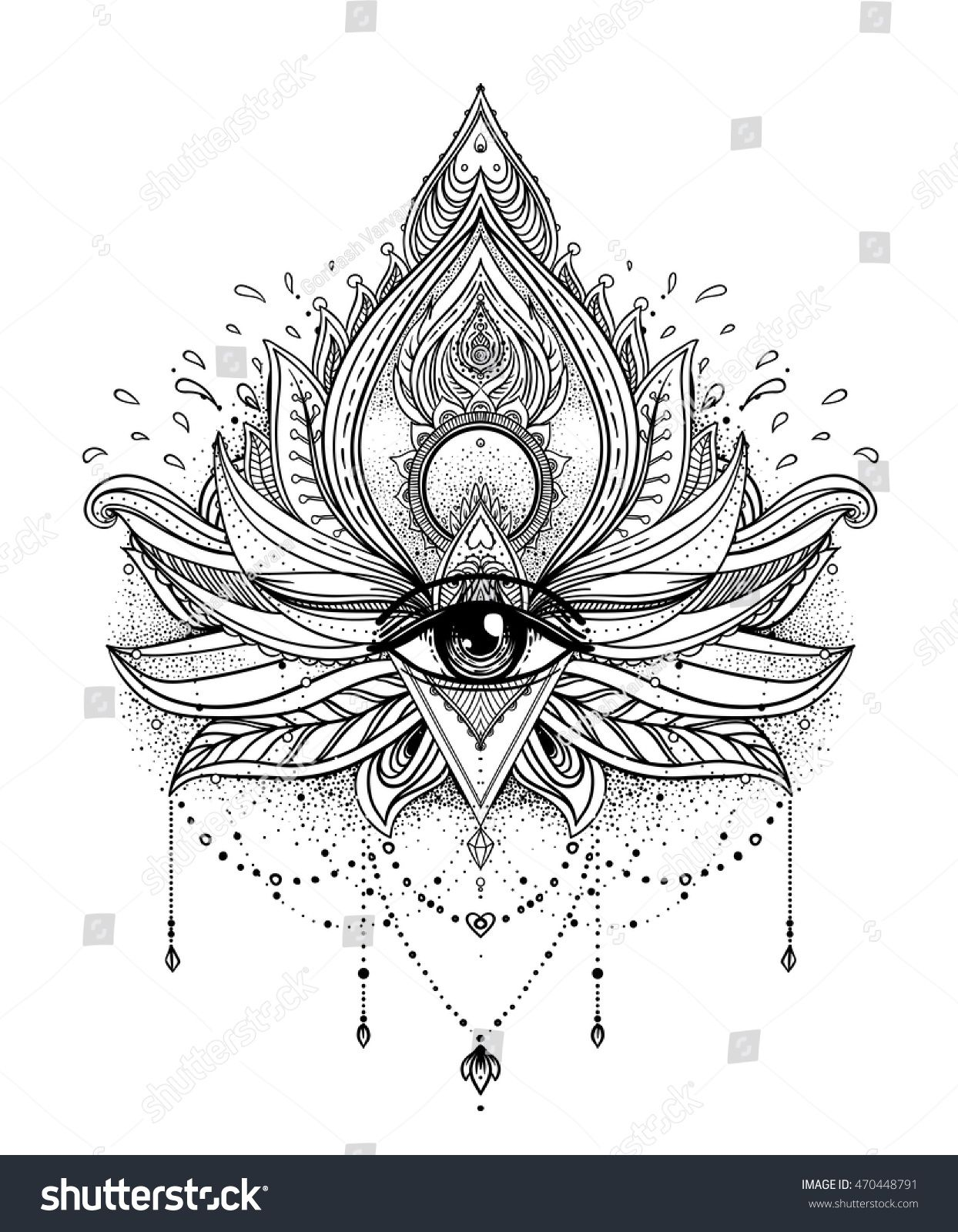 Vector Ornamental Lotus Flower All Seeing Eye Patterned Indian