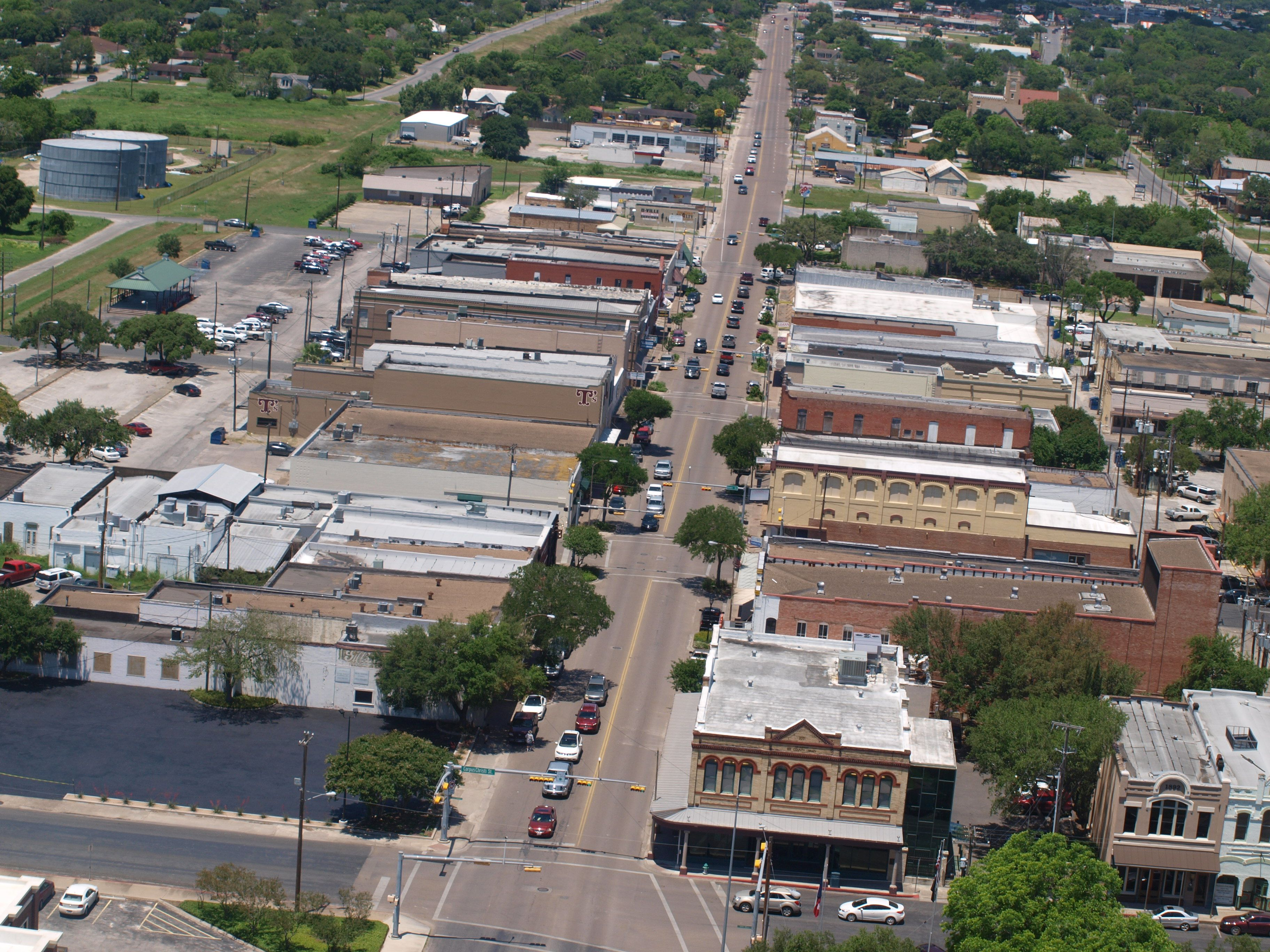Aerial view of downtown Beeville Main Street. Beeville