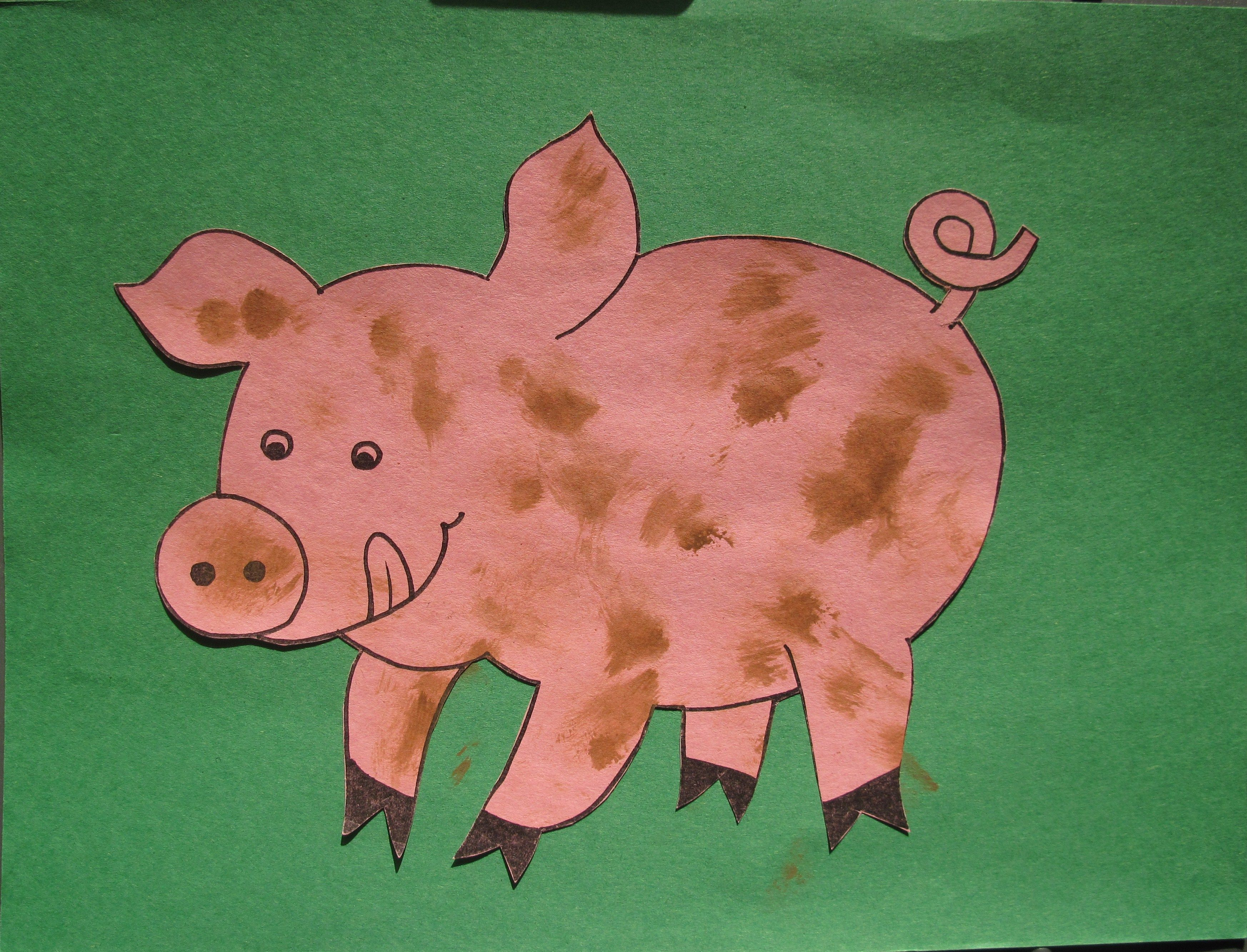 Animals crafts for preschoolers - Muddy Pig Craft Great For Any Age Q Tips And Watery Brown Paint Use For Animal Themed Month
