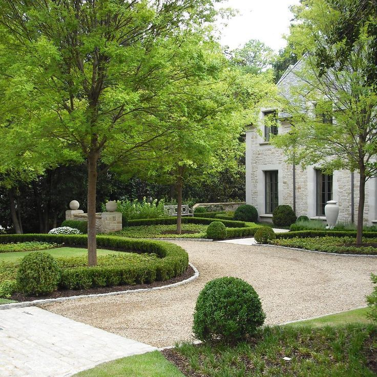 Circular Driveway With Simple Boxwood Border. In 2019