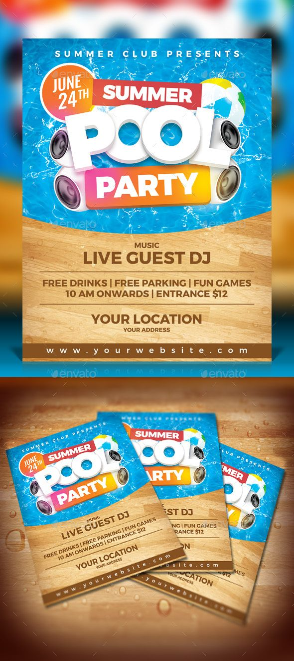Summer Pool Party Summer pool, Party flyer and Flyer template - pool party flyer template