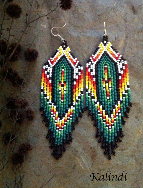 Native american style Beadwork, native style earrings