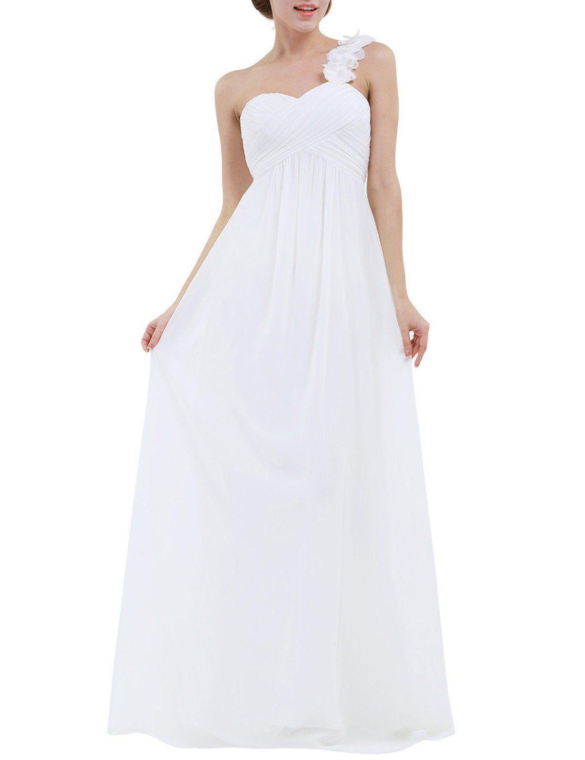 Iiniim womens chiffon oneshoulder evening prom gown wedding