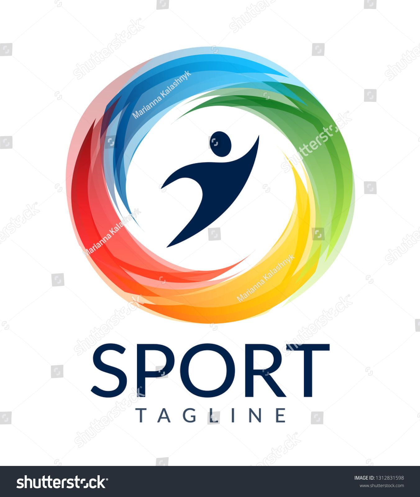 Sport people colorful web icon, vector logo, fitness