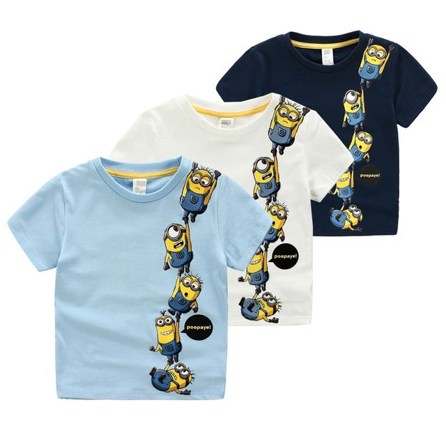 79cd97be5 2015 estilo del verano del algodón niños Minions camisetas ropa para niños  camisetas de la historieta del bebé sudaderas niños Minion camiseta