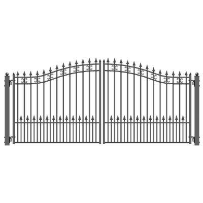 Aleko St Petersburg Style 14 Ft X 6 Ft Black Steel Dual Driveway Fence Gate Wrought Iron Driveway Gates Driveway Fence Driveway Gate