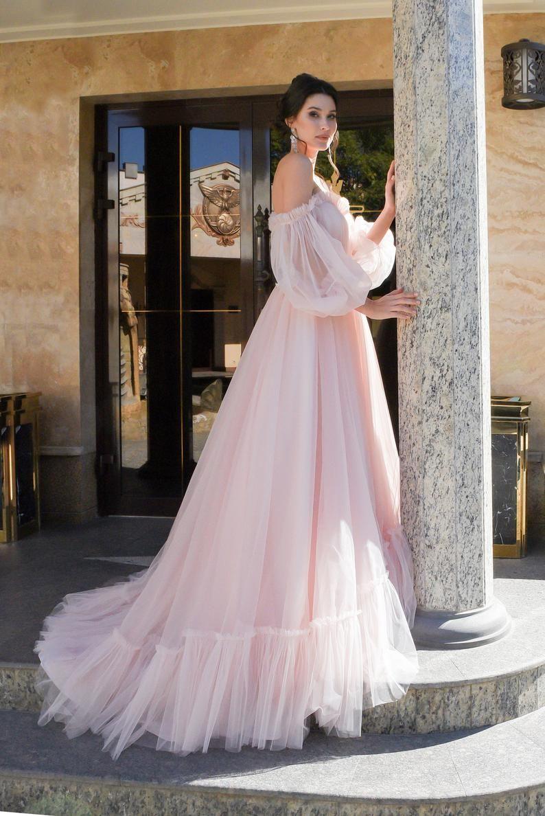 Boho Wedding Dress Simple Long Sleeves Modern White Blush Pink Etsy Wedding Dress Long Sleeve Blush Wedding Gown Lace Top Wedding Gowns [ 1188 x 794 Pixel ]