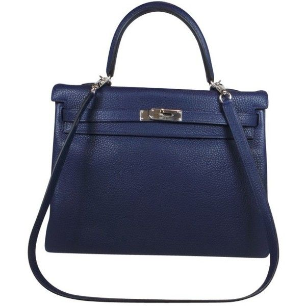 Pre-owned Kelly bag (805.510 RUB) ❤ liked on Polyvore featuring bags, handbags, blue, genuine leather handbags, hermes purse, pre owned handbags, 100 leather handbags and leather handbags