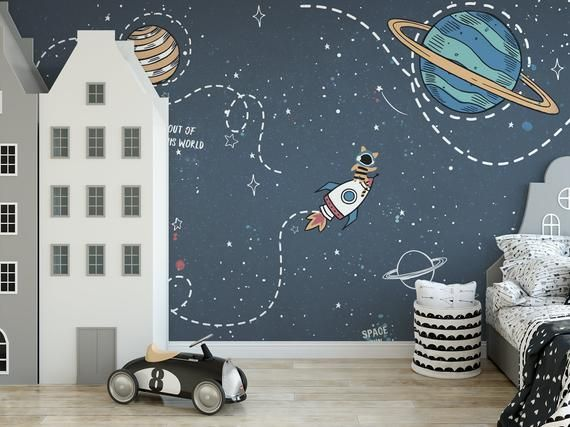 Self Adhesive Peel And Stick Kids Wallpaper Removable Space Etsy Kids Room Wall Murals Kids Room Murals Kids Wall Murals