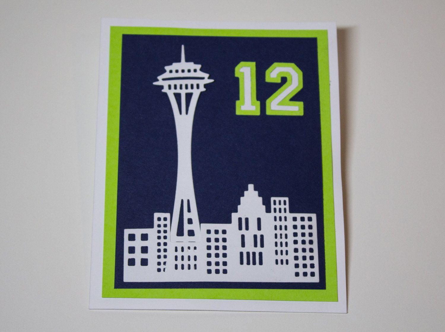 Seattle Seahawks 12th Man Space Needle Nfc Champions Greeting Cards