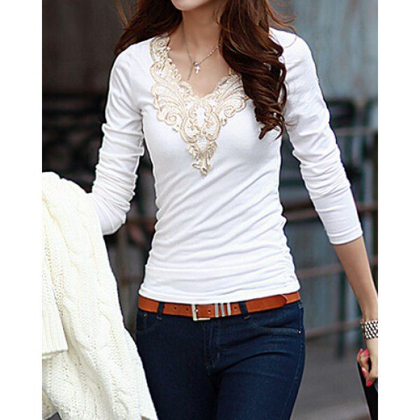 Fashionable V-Neck Lacework Splicing Long Sleeve T-Shirt For Women