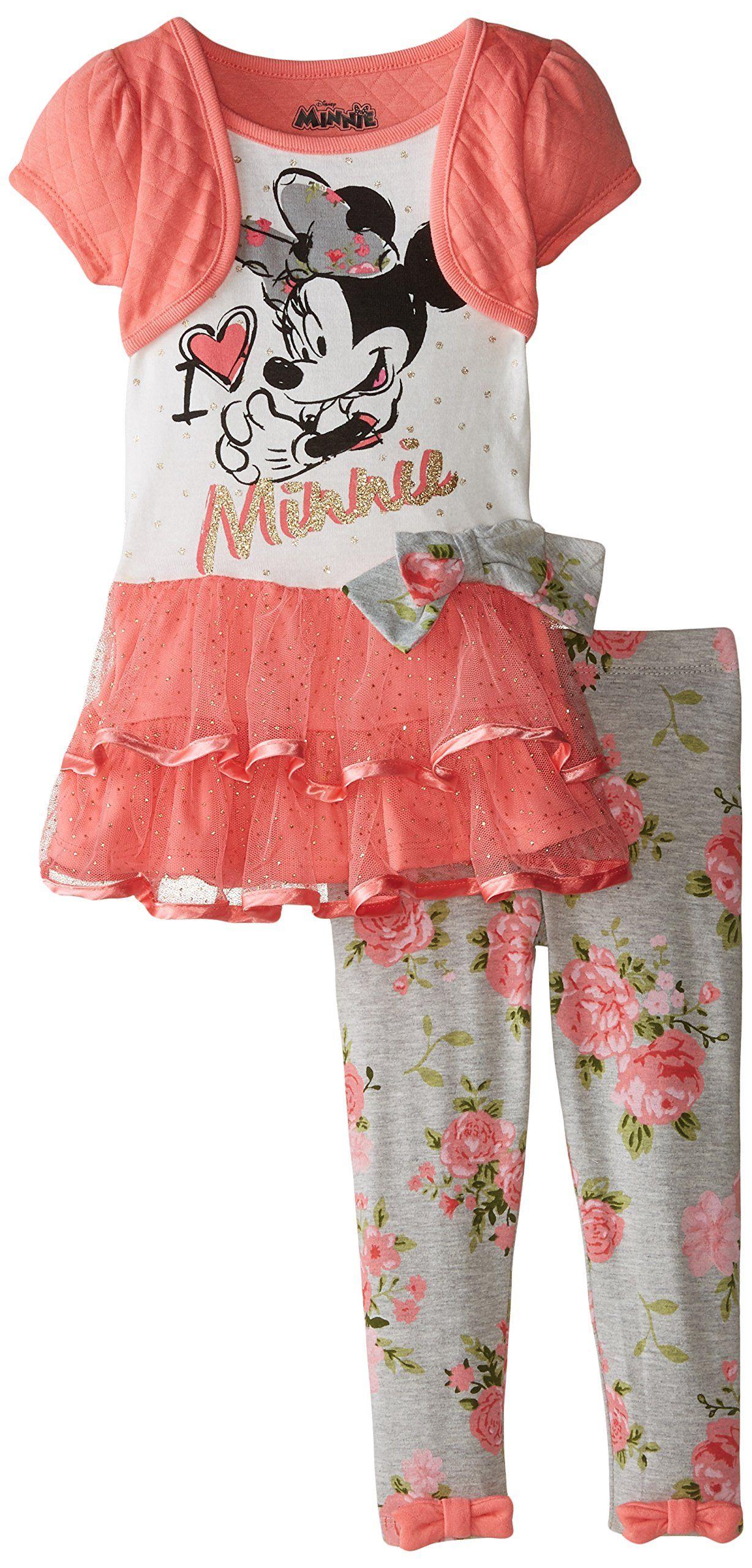 1d8c54dcb6887 Disney Girls' Minnie Mouse 2-Piece Legging Set, Orange, 5. Two-piece ...