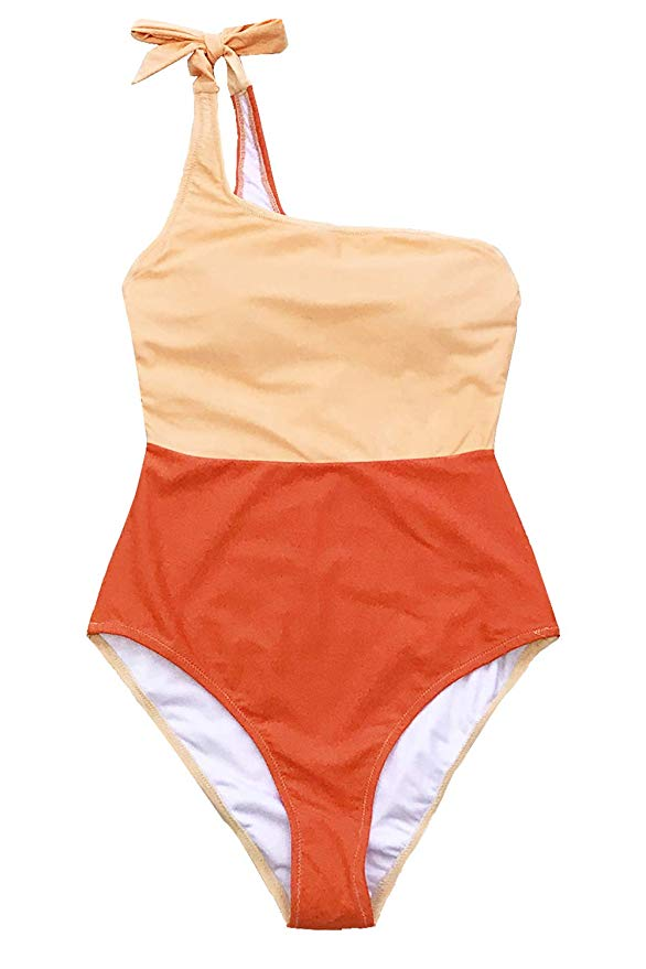 CUPSHE Womens Orange Crush One Shoulder Bowknot One-Piece Swimsuit