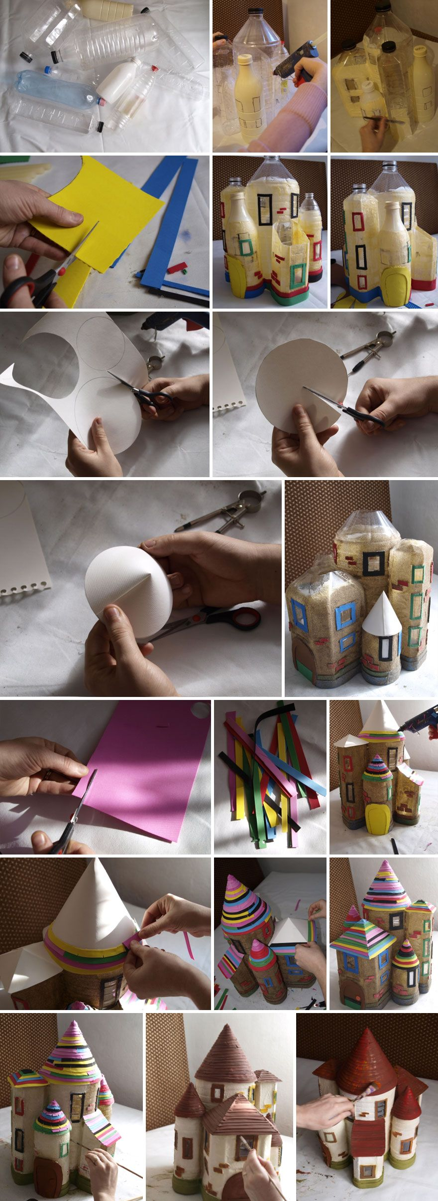 Last weekend we tried to make something creative with some of our empty plastic bottles. We used two large, 7 liters and 5 liters, water bottles and some smaller 2 and 1 liters milk and water bottles.   It was a fun project so we took photos of all the steps so you can make a fairy house too.