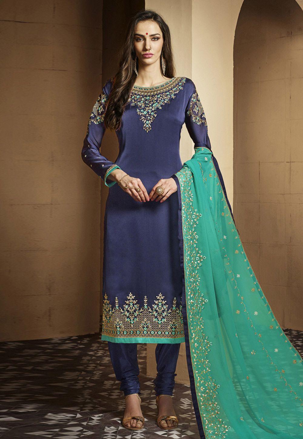 1d2d67767e Buy Navy Blue Satin Churidar Suit 156437 online at lowest price from huge  collection of salwar kameez at Indianclothstore.com.