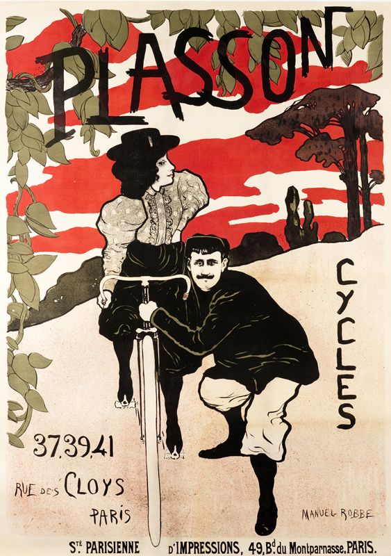 Cycles Plasson Man And Woman By Robbe Manuel 1872 1936 Shop Original Vintage Posters Online Www Internationalposter C