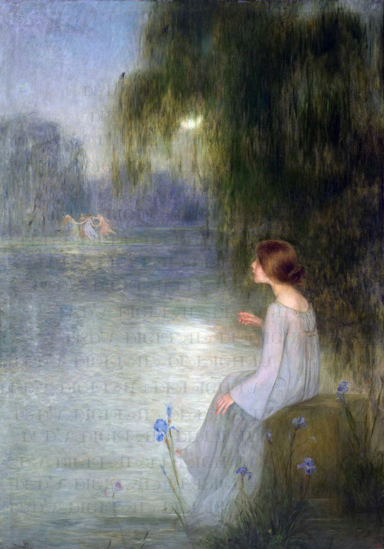 Fairies In Mist Vintage Fairy Painting. Digital