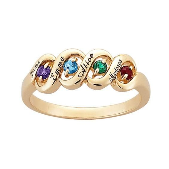 Zales Simulated Birthstone I Love You Ring in 10K Gold (7 Stones) UwUVV3e