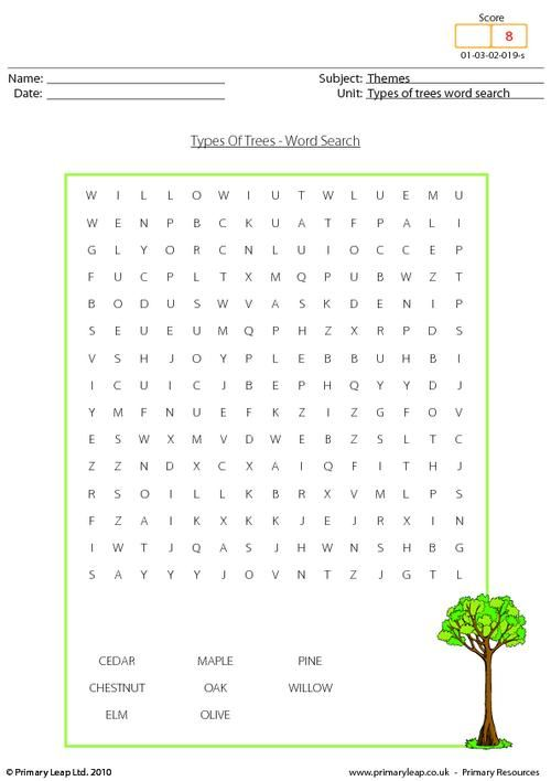 types of trees word search worksheet kids 1st grade word search. Black Bedroom Furniture Sets. Home Design Ideas