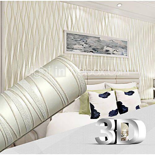 Contemporary 3D Wallpaper Stripe 053m*10m Wall Covering Non-woven