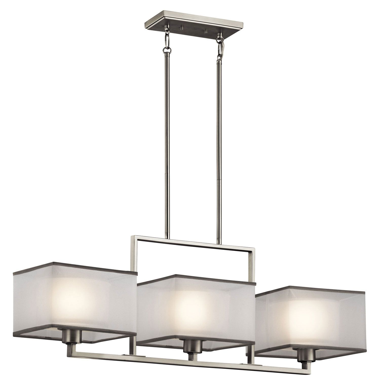 Kichler Kailey Brushed Nickel Three Light Single Linear Chandelier