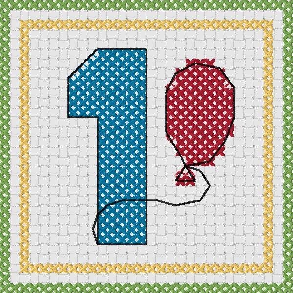 Free Cross Stitch 1st Birthday Card Pattern Felicitri Pe Etamin