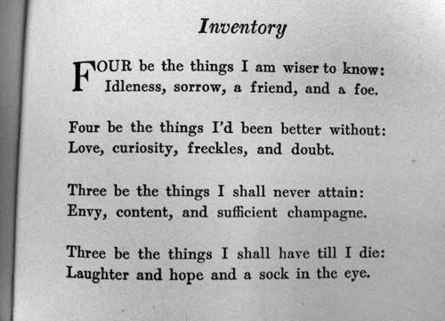 Inventory - Dorothy Parker Dorothy Parker Pinterest Las - resume by dorothy parker