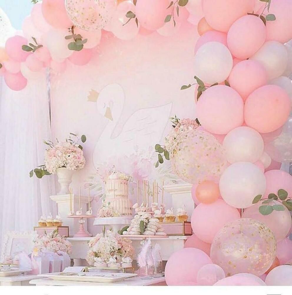 Pink White Gold Confetti Balloon Garland Kit Party Decorations