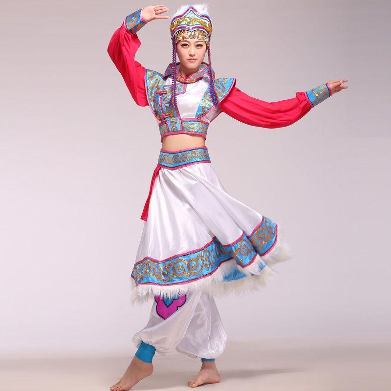 4ef188deb Girls Mongolian Dance Costume Chinese Minority Folk Dancewear Suit Fancy  Dress | eBay