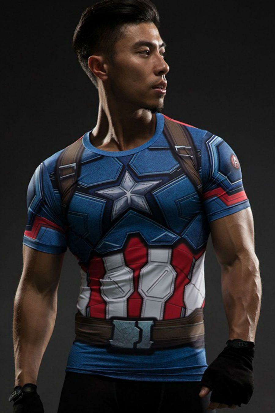 Men/'s The Avengers Captain America Flash T Shirts Cosplay Costume Sports Top Tee