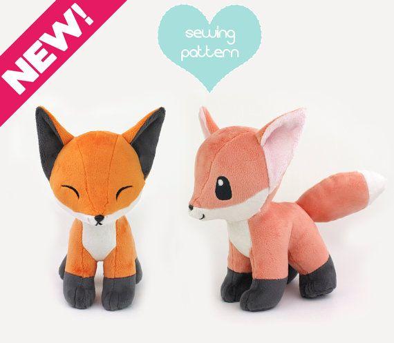 PDF sewing pattern - Baby Fox stuffed animal with video tutorials ...