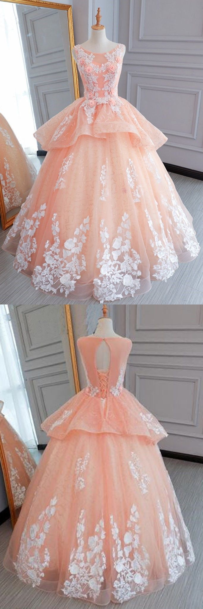 Pink tulle princess round neck long evening dress long white lace