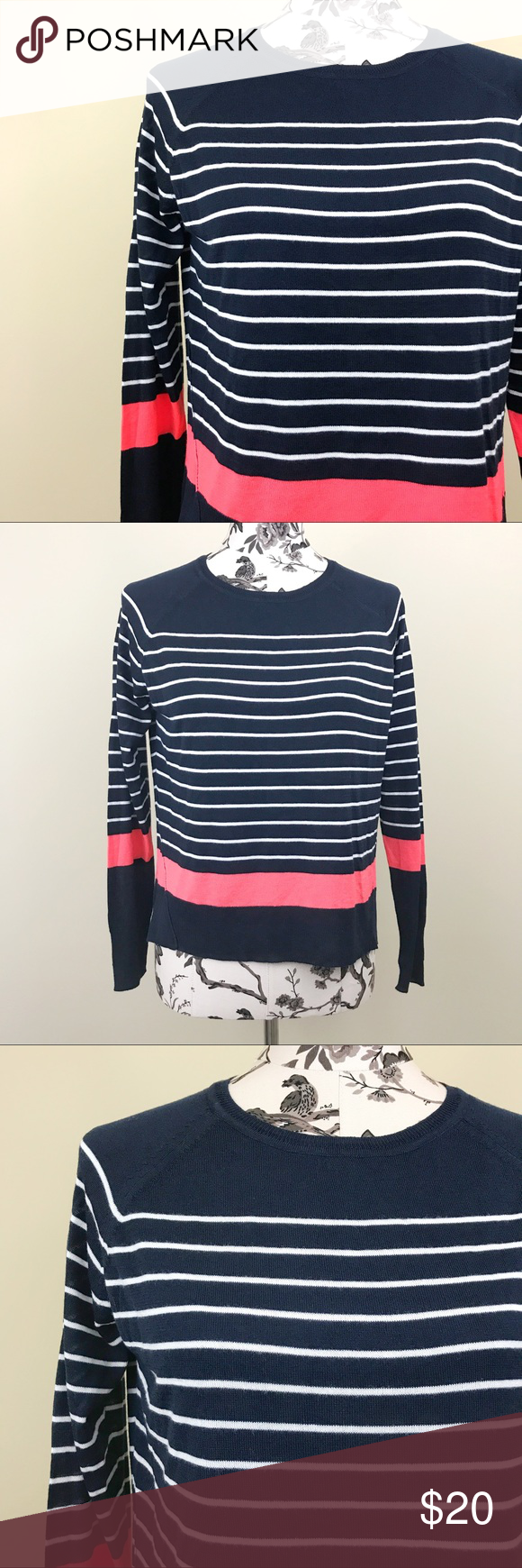 Zara Knit | Striped Sweater | Scoop neck and Navy