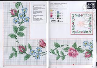 CURIOSA CORUJA: Gráfico Ponto Cruz - Flores para toalhas de mesa