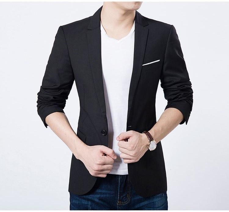 f4f00faf8eae20 2018 Fashion Men Casual 1 Cotton Jackets Male Slim Fit formal Sky Blue  Black Blazer Suit Plus Size 5XL Fashion Men Blazer Sping