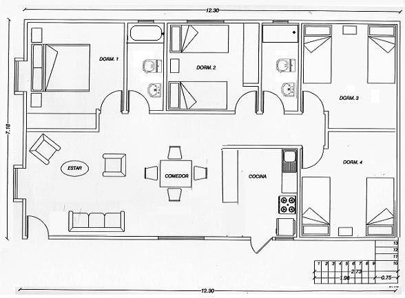 Plano de casa 4 dormitorios en solo 88 m2 planos for Planos de casas de una sola planta
