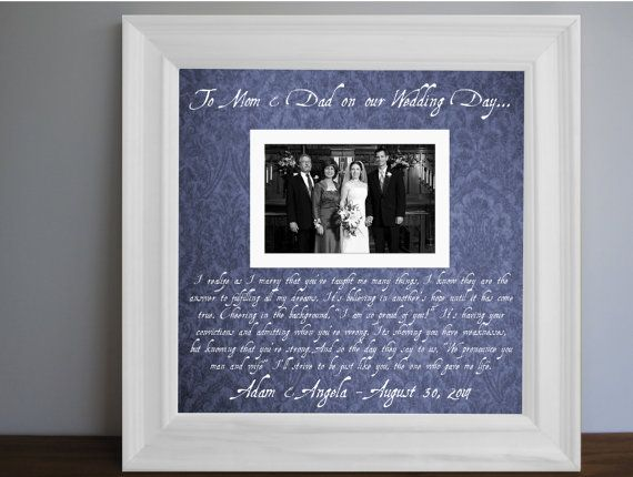 Thank you parent gift Parents Wedding frame Custom by framedaeon ...
