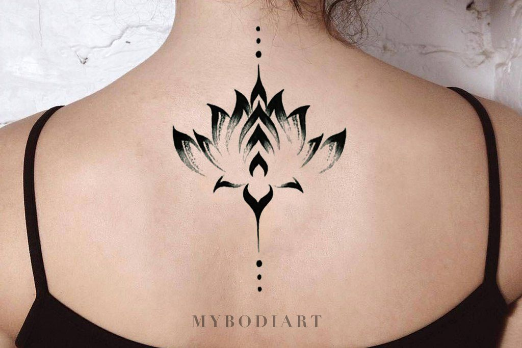 Alexi Black Watercolor Floral Lotus Flower Temporary Tattoo Tribal Tattoos For Women Tattoos Boho Tattoos