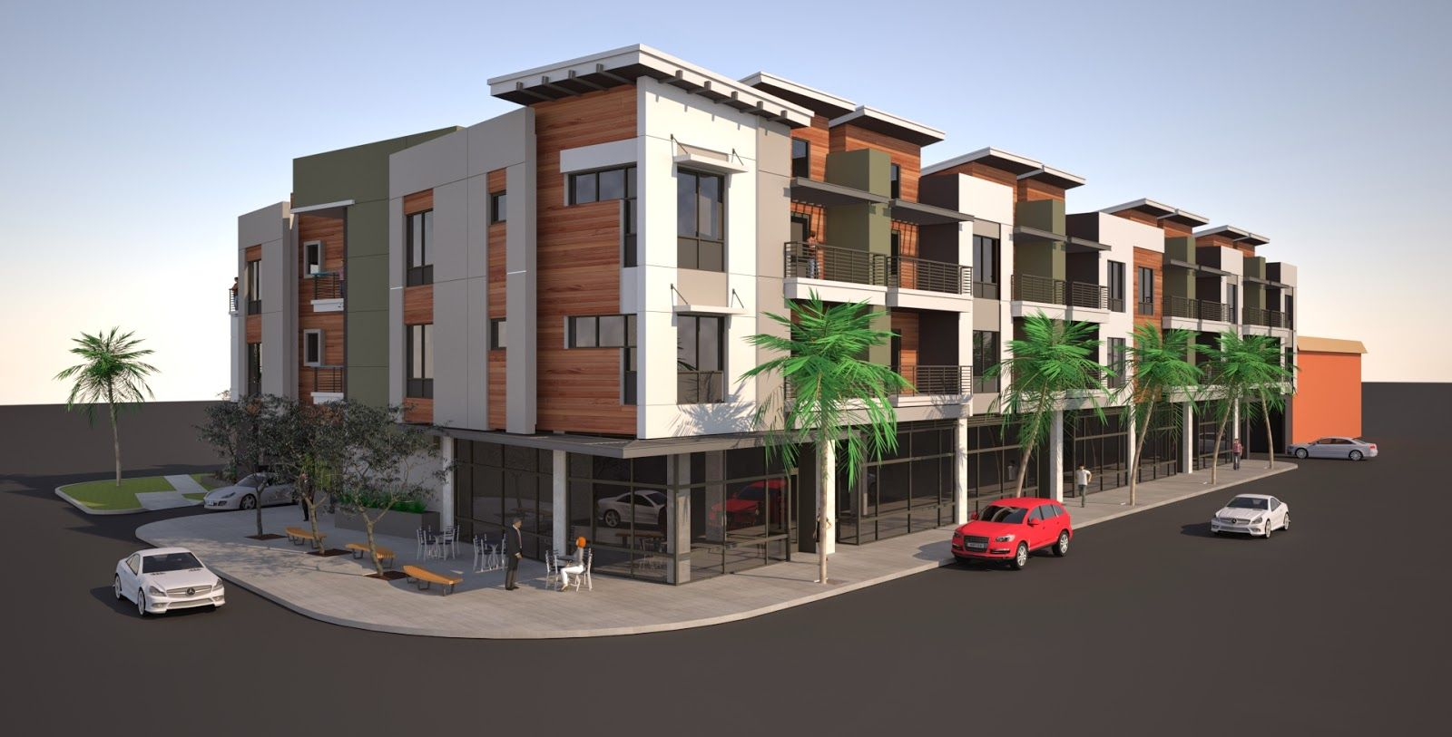 A mixed use complex featuring 30 residential units and for Apartment complex building plans
