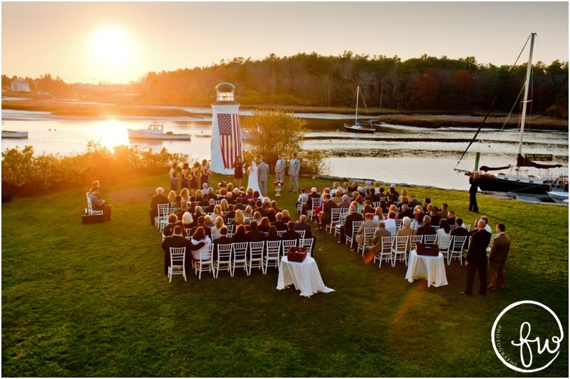 Sunset Wedding Ceremony Overview Photo On The River At Nonantum Resort Kennebunkport Maine